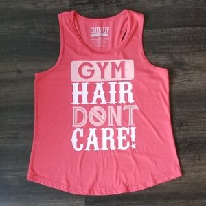 02cf88a1 Chin Up Gym Hair Don't Care Pink Workout Tank